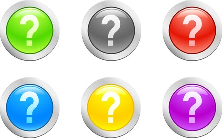 6 high-detailed buttons. Question button.  Vector illustration. Stock Vector - 2166803