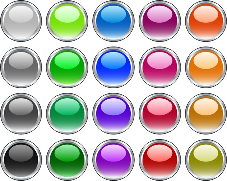 A lot of metal buttons. Vector illustration.  Vector