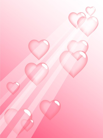 pink bubbles: Love bubbles in sky. Vector illustration.