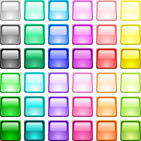 A lot of glossy buttons. Vector illustration.  Vector