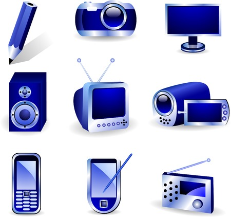 Set of nine three-dimensional vector icons.  Vector