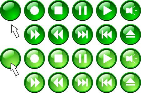 rec: Set of media icons.  Vector illustration.