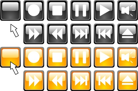 rec: Set of media icons.  Vector illustration.