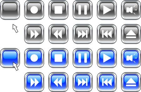 rec: Set di icone di mezzi di comunicazione.  Illustrazione vettoriale.