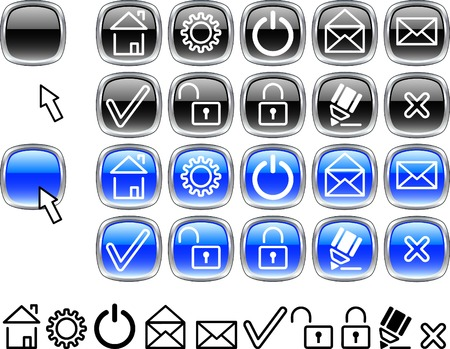 Collection of buttons. Vector illustration. Stock Vector - 2496709
