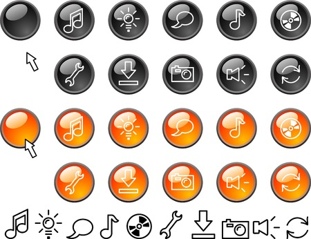 Collection of buttons. Vector illustration.  Vector