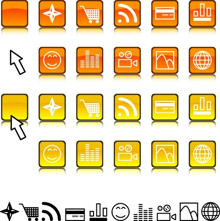 Collection of buttons. Vector illustration. Stock Vector - 2576871