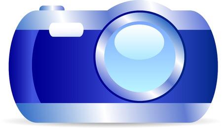 Icon of digital camera. Vector illustration. Vector