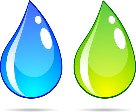 Bright water drops. Vector illustration.