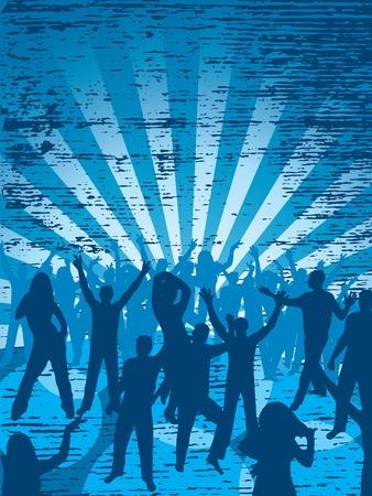 Fun dancing crowd. Grunge background. Illustration