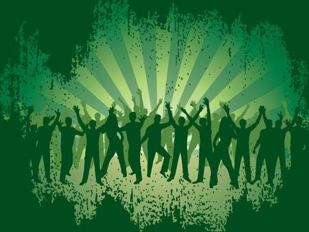 Fun dancing crowd. Grunge background. Stock Vector - 2690380
