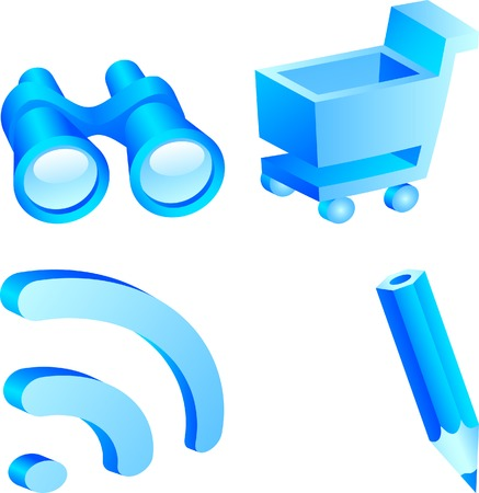 Set of 3d web icons. Vector illustration. Stock Vector - 2704188
