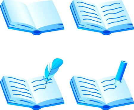 Set of 3d book icons. Vector illustration.  Vector