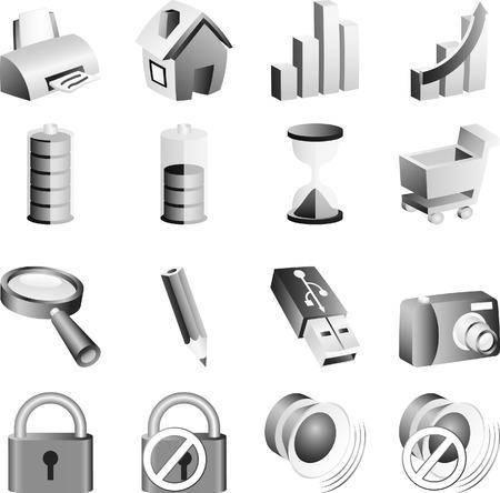 Set of B&w icons. Vector illustration.