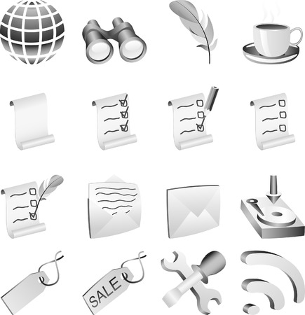 global settings: Set of B&w  icons. Vector illustration.