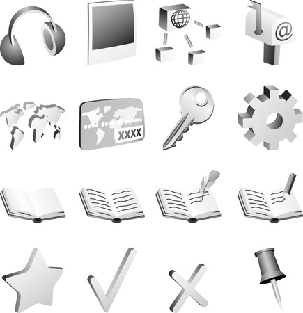 Set of 3d simple B&w. Vector illustration.  Vector