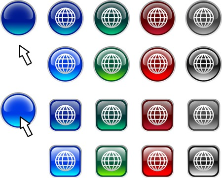 A lot of globe icons. Vector illustration. Vector