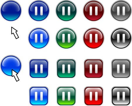A lot of pause icons. Vector illustration.  Vector