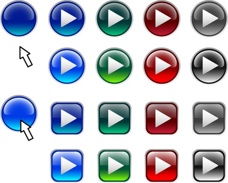 A lot of play icons. Vector illustration.  Vector