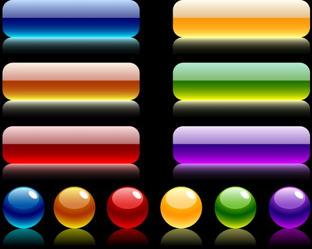 Glossy balls and buttons. Vector illustration.  Illustration