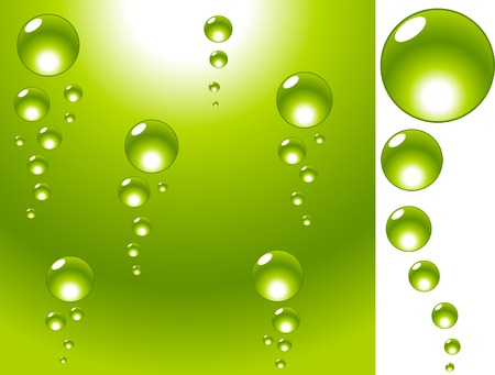 Green water with bubbles. Vector illustration.  Vector