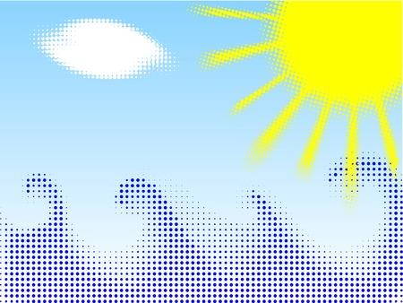 Halftone summer background. Vector illustration. Stock Vector - 2903240