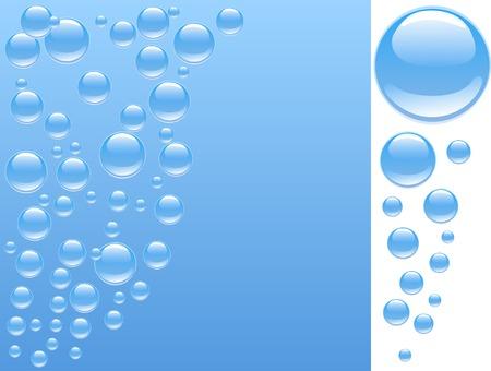 Blue agua con burbujas. Ilustración vectorial.