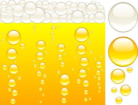 champagne orange: Shiny gold beer. Vector illustration.