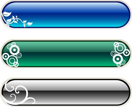 elipse: Set of floral buttons. Vector illustration.
