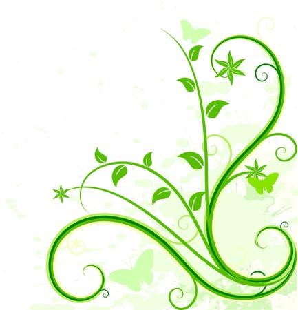 corazones: Grunge floral backdrop. Vector illustration.