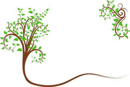 Beautiful ornate tree. Vector illustration.  Vector