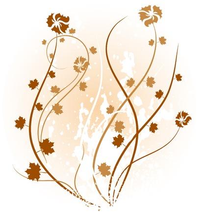corazones: brown floral backdrop. Vector illustration.