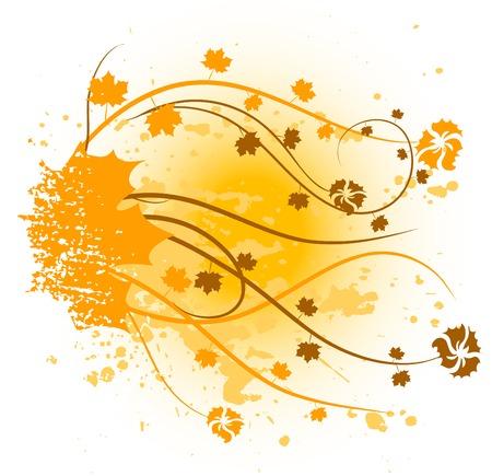 corazones: Orange floral backdrop. Vector illustration.