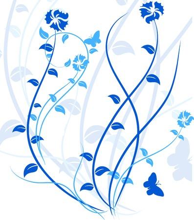 Blue floral backdrop. Vector illustration.  Vector