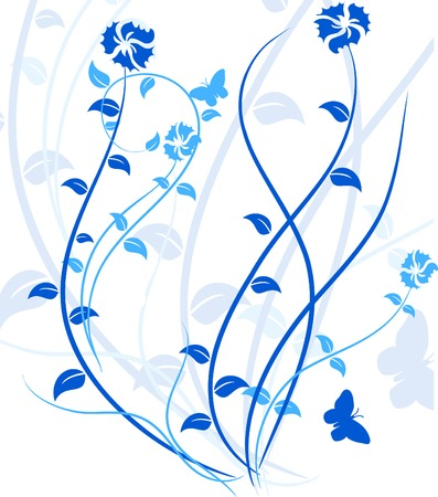 leaves vector: Blue floral backdrop. Vector illustration.  Illustration