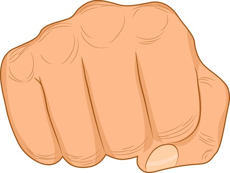 two fingers: Strong male fist. Vector illustration.
