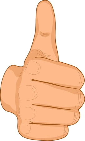 thumbs up symbol: Up male finger. Vector illustration.