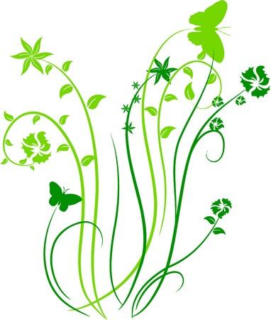 Green floral backdrop. Vector illustration. Stock Vector - 3229570