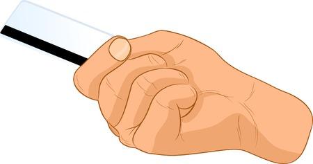 Card in a hand. Vector illustration.  Vector