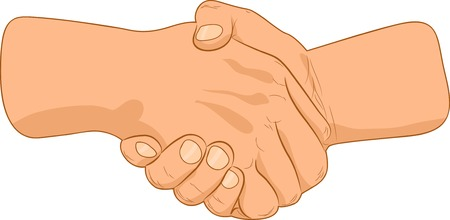 shake hands: Double handshake sing. Vector illustration.