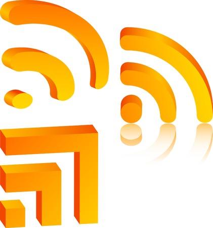 rss: 3d rss icons. Vector illustration. Illustration