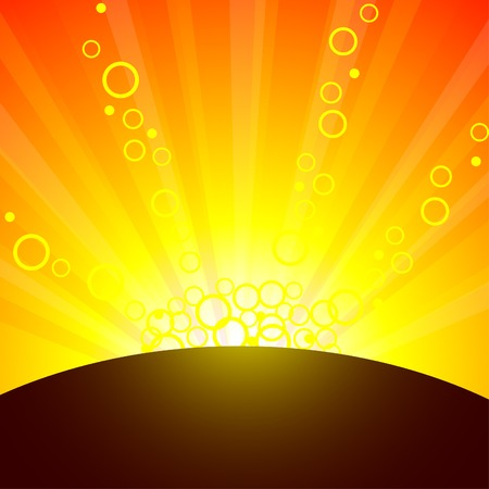 Sun and sunbeams. Vector illustration.  Stock Vector - 3398653