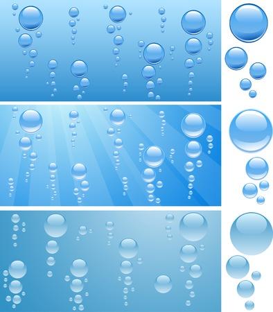 Three aquariums with bubbles. Vector illustration. Stock Vector - 3398655