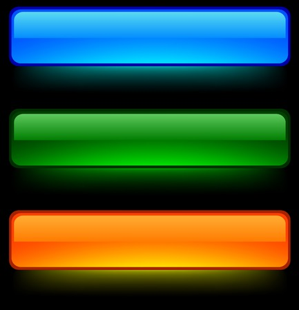 menu button: Neon shiny buttons. Vector illustration.