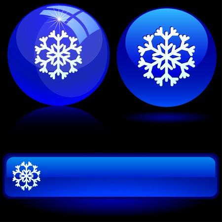 Snowflake on blue ball. Vector illustration.  Vector