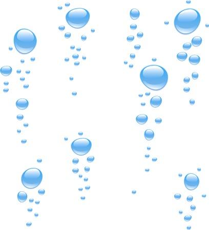 El agua con burbujas. Ilustración vectorial.