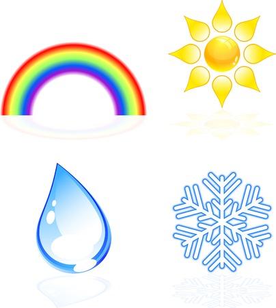 gocce di colore: Quattro belle icone meteo. Vector illustratio.
