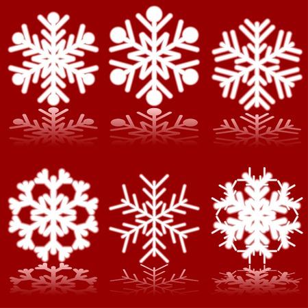 luminous: Luminous snowflakes on red. Vector illustration.