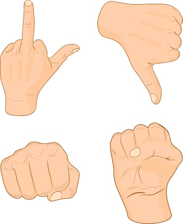 Strong male fists. Vector illustration.  Vector
