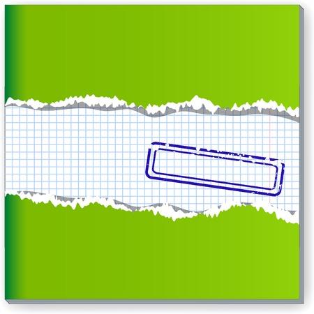 copybook: Damaged copybook sheet. Vector illustration.  Illustration